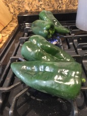 poblanos directly on open flame